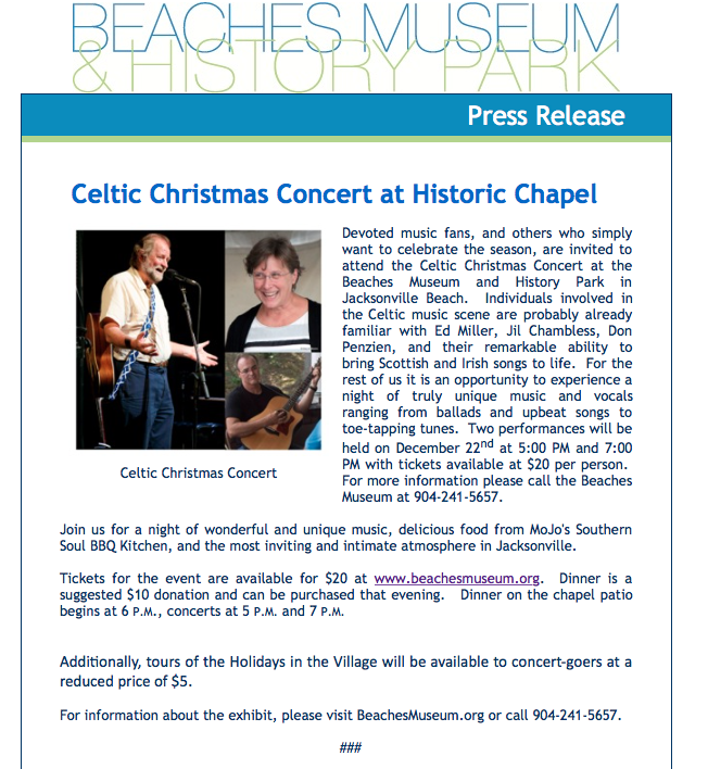 Celtic Christmas Concert Jacksonville Beach