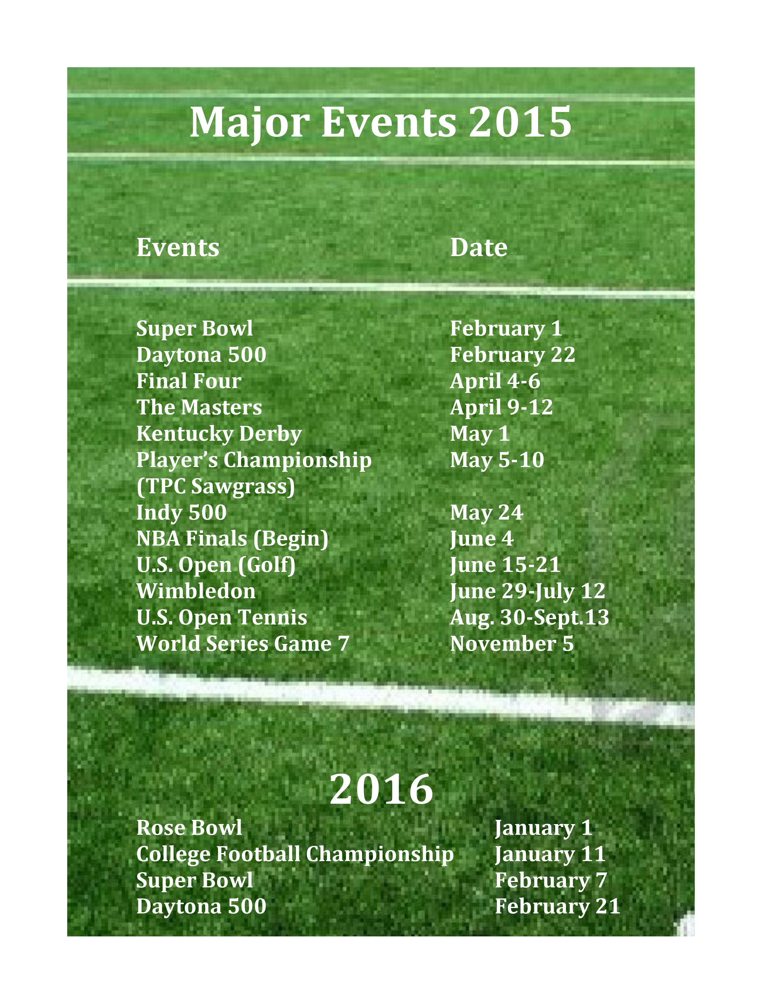 major events 2015